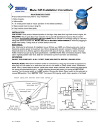 Shurflo Low voltage submersible pump 355-100-00 3780 l/h 2.5 m 355-100-00 Data Sheet