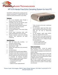 Phoenix Audio MT107A Leaflet