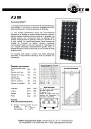 """Sunset Monocrystalline solar panel 80 Wp 16.8 V Solarmodul """"AS80"""" 110119 Data Sheet"""
