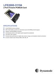 Dynamode 2 Port Firewire PCMCIA Adapter LFE2000-31194-3 Merkblatt