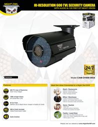 Night Owl Optics Security Camera CAM-OV600-365A Leaflet