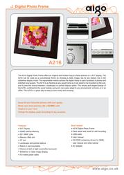 Aigo A216 Digital Photo Frame Mahogany A216 - MAHOGANY Leaflet