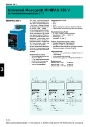 Ziehl MINIPAN 350 DC Digital measuring and switching device MINIPAN 350 DC 1 mV - 500 V/DC / 1 mA - 1 A D 890110.CO Data Sheet