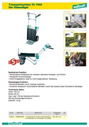 Wolfcraft TS 1000 Multifunction Transport System 63 cm x 125 cm 5520000 数据表