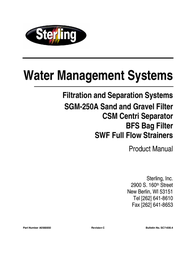Sterling FILTRATION AND SEPARATION SYSTEMS SGM-250A User Manual