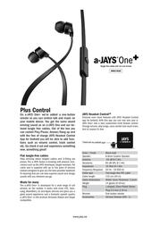 JAYS One+ T00085 Leaflet