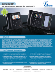Grandstream cord-connected VoIP-telephone GXV3240 Data Sheet