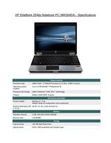 HP 2540p WK304EA User Manual