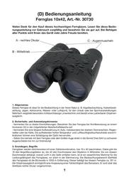Yukon Fernglas 10 x 42 Binoculars 30730 Data Sheet
