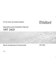 Vaillant VRT 340f Operating Guide
