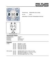JUNG Insert Circuit breaker LS 990, AS 500, CD 500, LS design, LS plus, FD design, A 500, A plus, A creation, CD plus, 502U Data Sheet