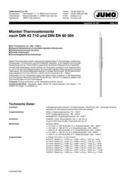 Jumo Sheathed insert NiCrNi 200mm/1.5mm THE 901250/32-1043-1,5-200-11-2500/000 Data Sheet