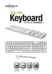 Avanca Qwerty Slim USB keyboard for Windows Silver White AVKB-N05 Leaflet
