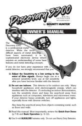 Bounty Hunter DISCOVERY 3300 User Manual