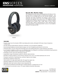 KRK KNS 8400 3896 User Manual