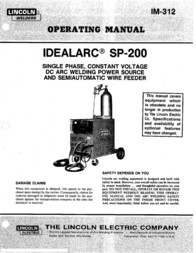 Lincoln IDEALARC SP-200 User Manual