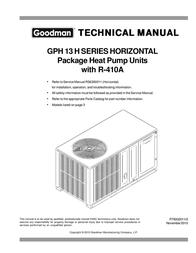 Goodmans Heat Pump GPH 13 H 사용자 설명서