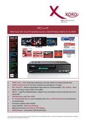 Xoro HRS 9500IP SAT100550 Data Sheet