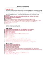 Craftsman Magnetic Universal Protractor Warranty Information