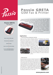 Possio GRETA GSM Fax & Printer QEQU 00080/01 Leaflet