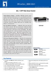 LevelOne 8 Port Gigabit + 1 Port SFP Web Smart Switch GSW-0841 Leaflet