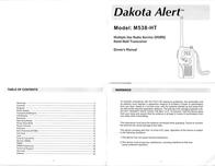 Dakota Alert Inc. Portable Radio M538-HT User Manual