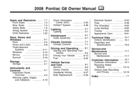 Pontiac 2008 Pontiac G8 G8 User Manual