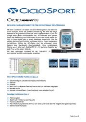 Ciclosport Navic 50 GPS Cycle Computer With Data Logger 10520050 Data Sheet