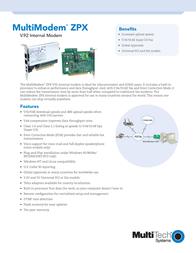 Multitech MultiModemZPX PCI MT5634ZPX-PCI-U-NV Leaflet