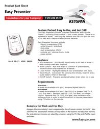 Keyspan Easy Presenter Remote Control - PC, Mac PR-EZ1 Leaflet