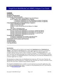 SimpleTech Digital Camera Memory Card User Manual