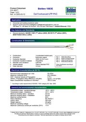Belden UTPcab - 100MHz, 4P wire 1583E.00U305 Data Sheet