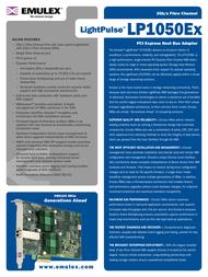 Emulex Single Channel 2Gb/s Fibre Channel PCI Express HBA LP1050EX-E LP1050EX-E Leaflet