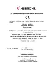 Albrecht AE 600S 40021 Declaration Of Conformity