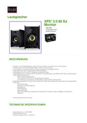 Hercules XPS 2.0 80 DJ Monitor 4780692 Data Sheet