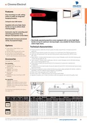 Projecta Cinema Electrol 102x180 Matte White S 10101057 Leaflet