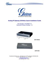 Grandstream GXW-4004 4 FXS GATEWAY GXW4004 Data Sheet