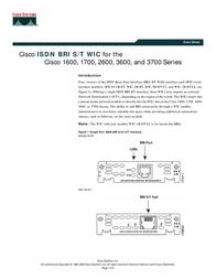 Cisco 1-Port ISDN BRI WAN Interface Card WIC-1B-S/T= Data Sheet