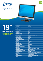 "Novita 1905W 19"" TFT Display N10002 Leaflet"