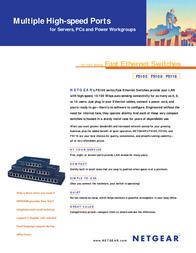 Netgear FS108 10/100 Mbps Fast Ethernet Switch FS108GE Leaflet