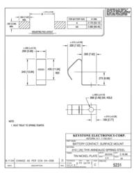 Keystone Single contact for A, AA, 9 V cells Single contact (L x W x H) 15.24 x 5.08 5231 Data Sheet