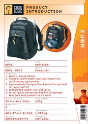 """Case Logic Sporty Laptop Backpack 15.4"""" NBP3 Leaflet"""