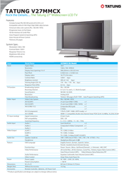 "Tatung 27"" Widescreen LCD TV Silver V27MMCX Leaflet"