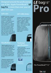 """be.ez LE Bag 15"""" PRO 110016 Leaflet"""