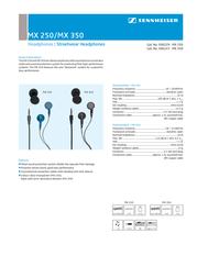 Sennheiser MX 250 MX250 Leaflet