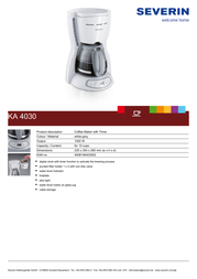 Severin Coffee Maker KA 4030 KA4030 Leaflet
