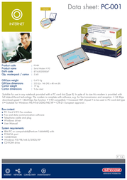 Sitecom Modem PC Card V92 PC-001 Leaflet
