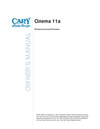 Cary Audio Design Sound Processor Cinema 11a User Manual