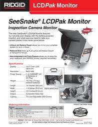 Ridgid SeeSnake LCDPak Monitor Leaflet