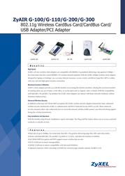 ZyXEL G-110 - 802.11g Wireless CardBus Card 110202.0110 Leaflet